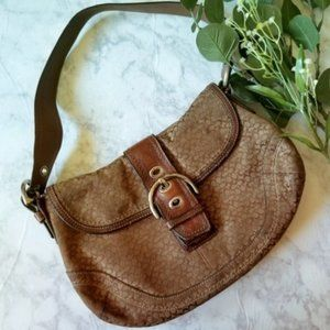 Coach Soho Shoulder Bag Brown Flap F12309 Pockets